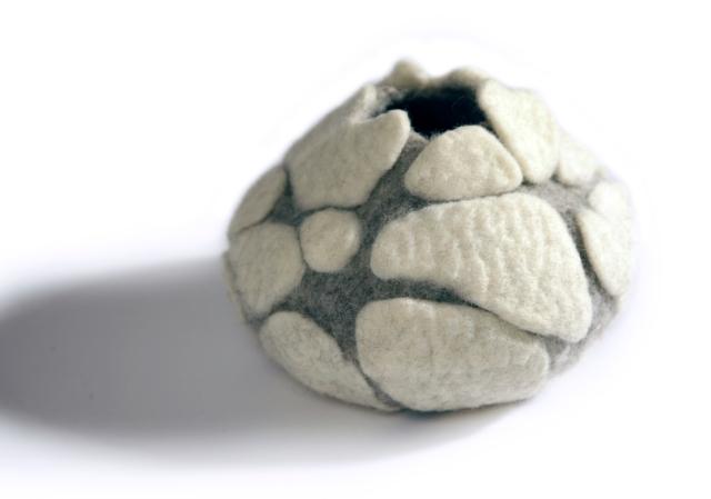 Felt pod created by textile artist Jean Drysdale