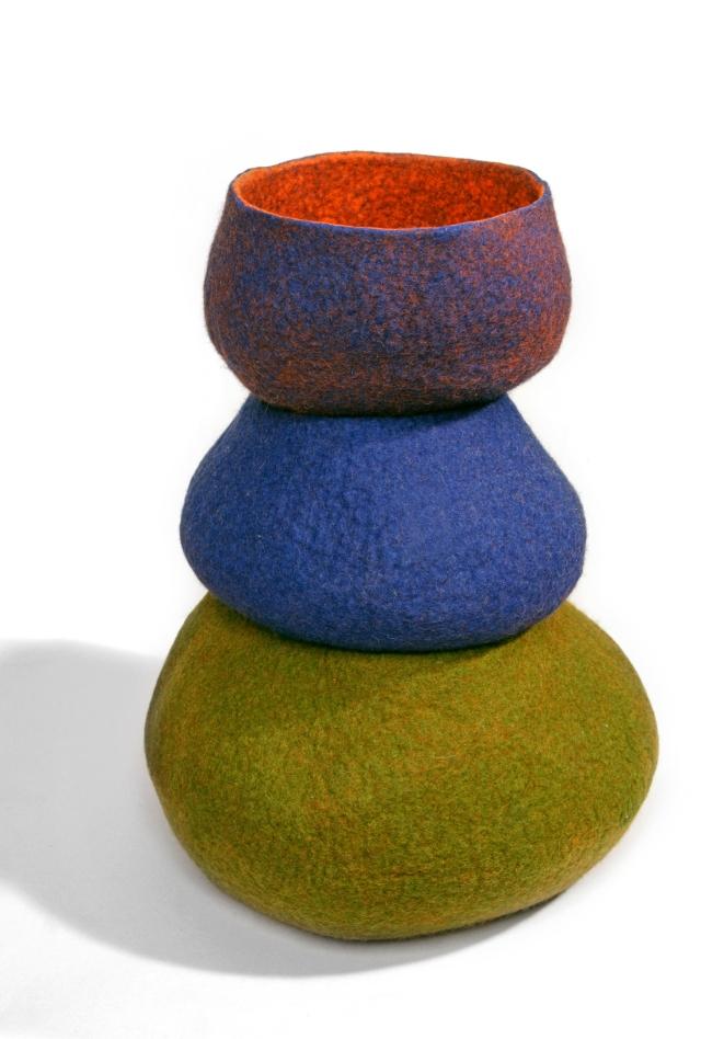 Felt bowls created by textile artist Jean Drysdale