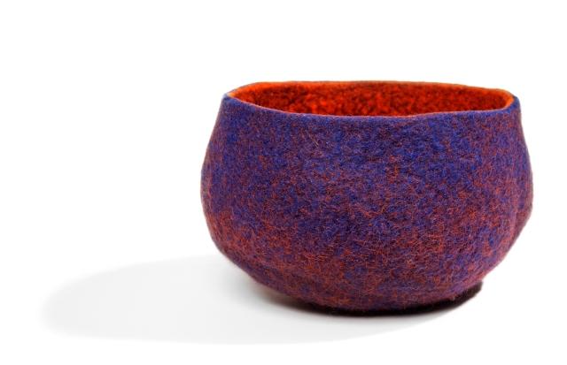 Felt bowl created by textile artist Jean Drysdale