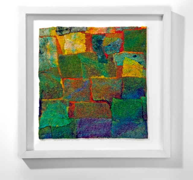 Landscape 1 w 33cm x h 32cm Nuno felted textile; Silk and cotton on wool