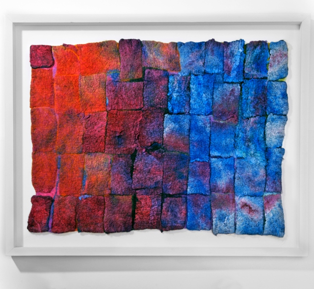Urban Blue w 66cm x h 48cm Nuno felted textile; Silk on wool